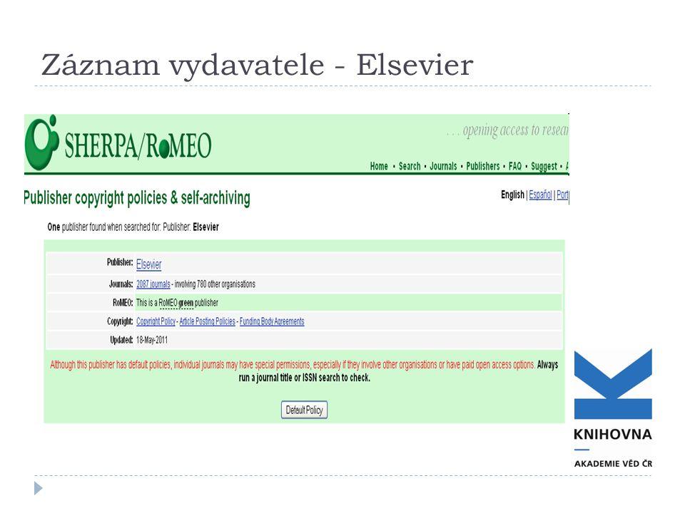 Záznam vydavatele - Elsevier