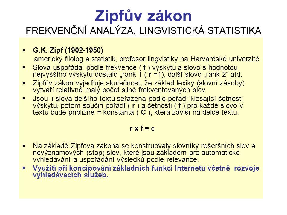 Zipfův zákon FREKVENČNÍ ANALÝZA, LINGVISTICKÁ STATISTIKA  G.K. Zipf (1902-1950) americký filolog a statistik, profesor lingvistiky na Harvardské univ