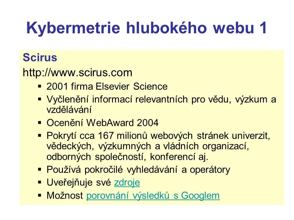 Kybermetrie hlubokého webu 1 Scirus http://www.scirus.com  2001 firma Elsevier Science  Vyčlenění informací relevantních pro vědu, výzkum a vzdělává