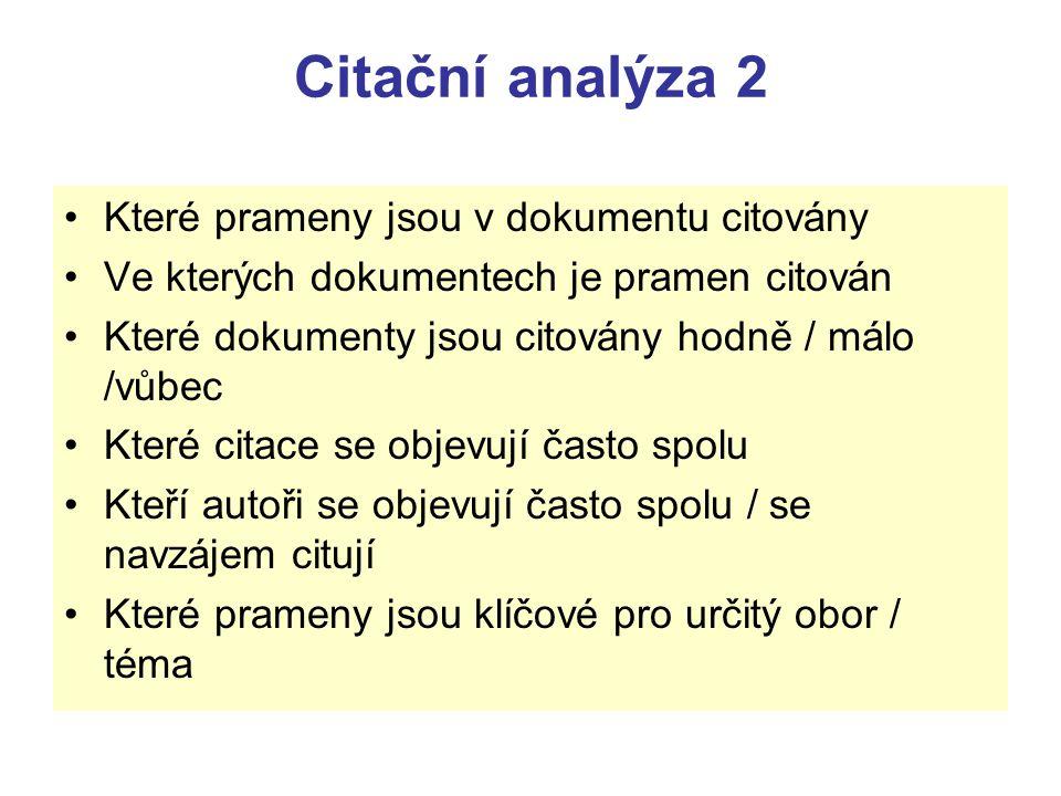 Citační analýza 2 Které prameny jsou v dokumentu citovány Ve kterých dokumentech je pramen citován Které dokumenty jsou citovány hodně / málo /vůbec K
