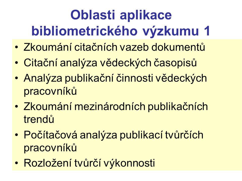 Oblasti aplikace bibliometrického výzkumu 1 Zkoumání citačních vazeb dokumentů Citační analýza vědeckých časopisů Analýza publikační činnosti vědeckýc
