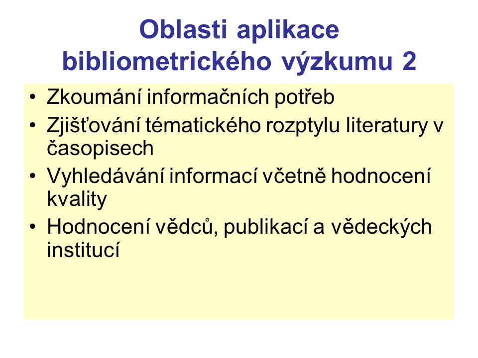 Oblasti aplikace bibliometrického výzkumu 2 Zkoumání informačních potřeb Zjišťování tématického rozptylu literatury v časopisech Vyhledávání informací
