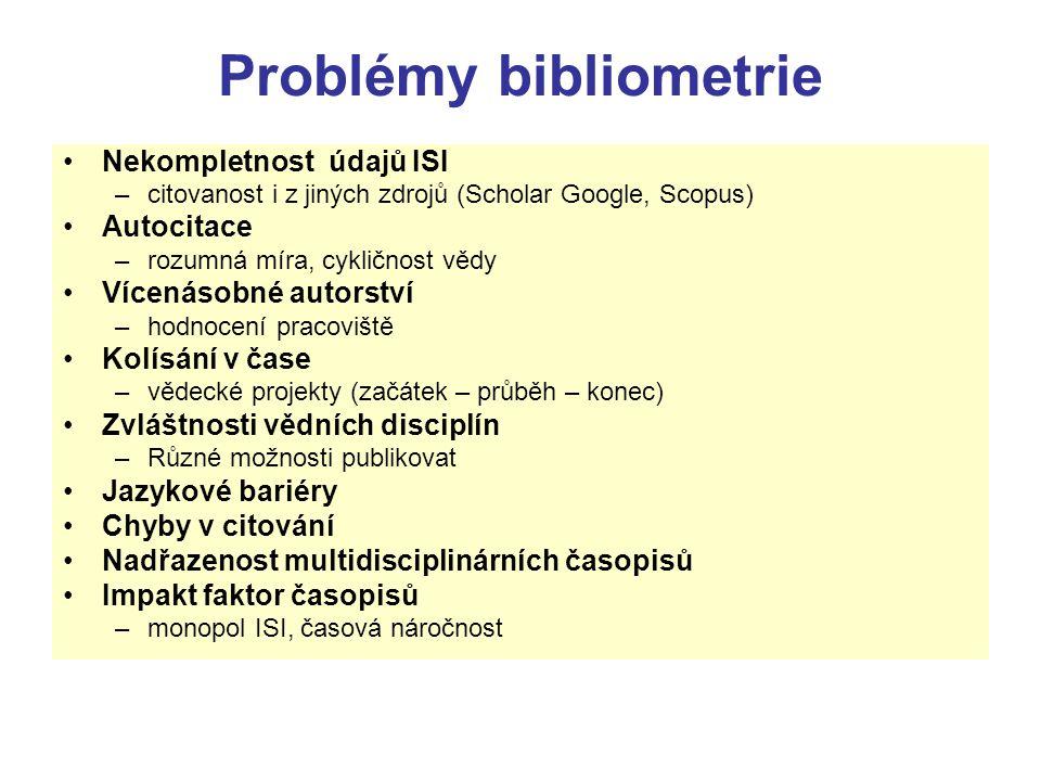 Problémy bibliometrie Nekompletnost údajů ISI –citovanost i z jiných zdrojů (Scholar Google, Scopus) Autocitace –rozumná míra, cykličnost vědy Vícenás