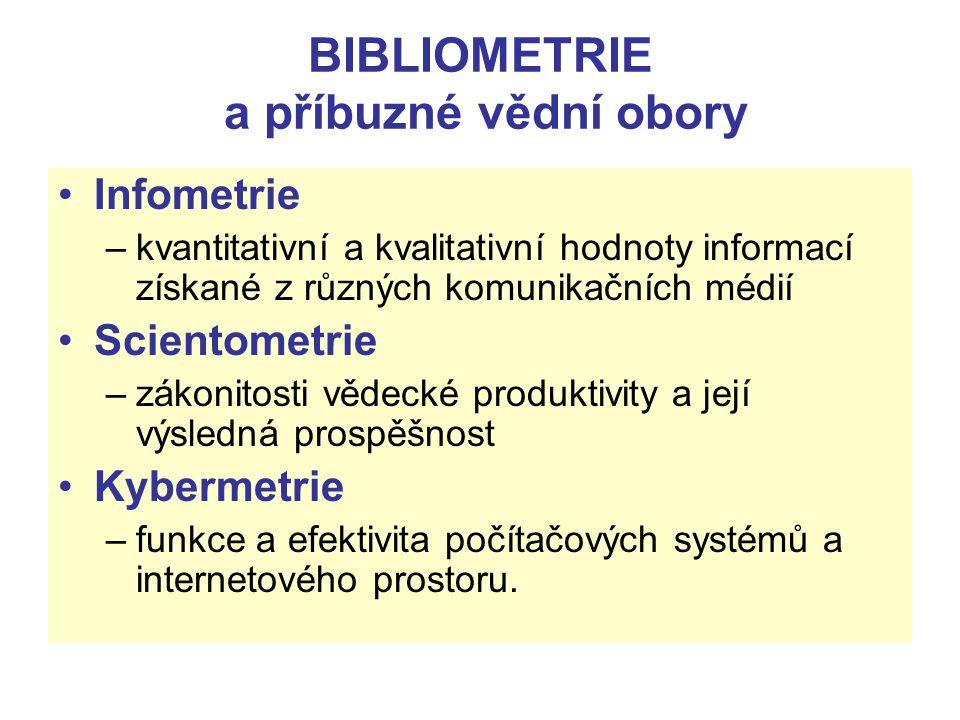 BIBLIOMETRIE a příbuzné vědní obory Infometrie –kvantitativní a kvalitativní hodnoty informací získané z různých komunikačních médií Scientometrie –zá