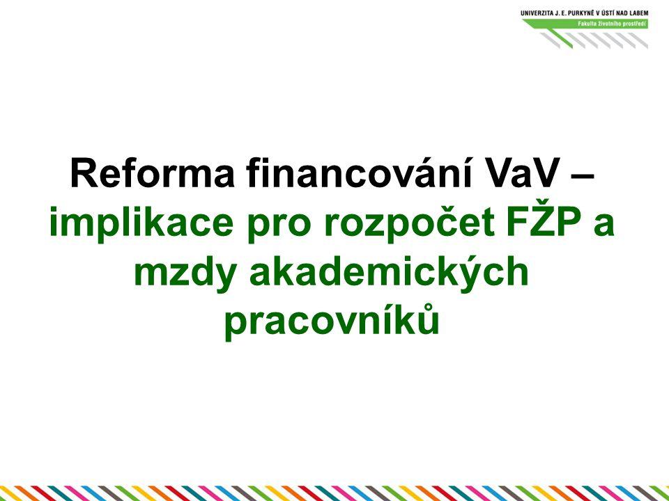 Reforma financování VaV – implikace pro rozpočet FŽP a mzdy akademických pracovníků