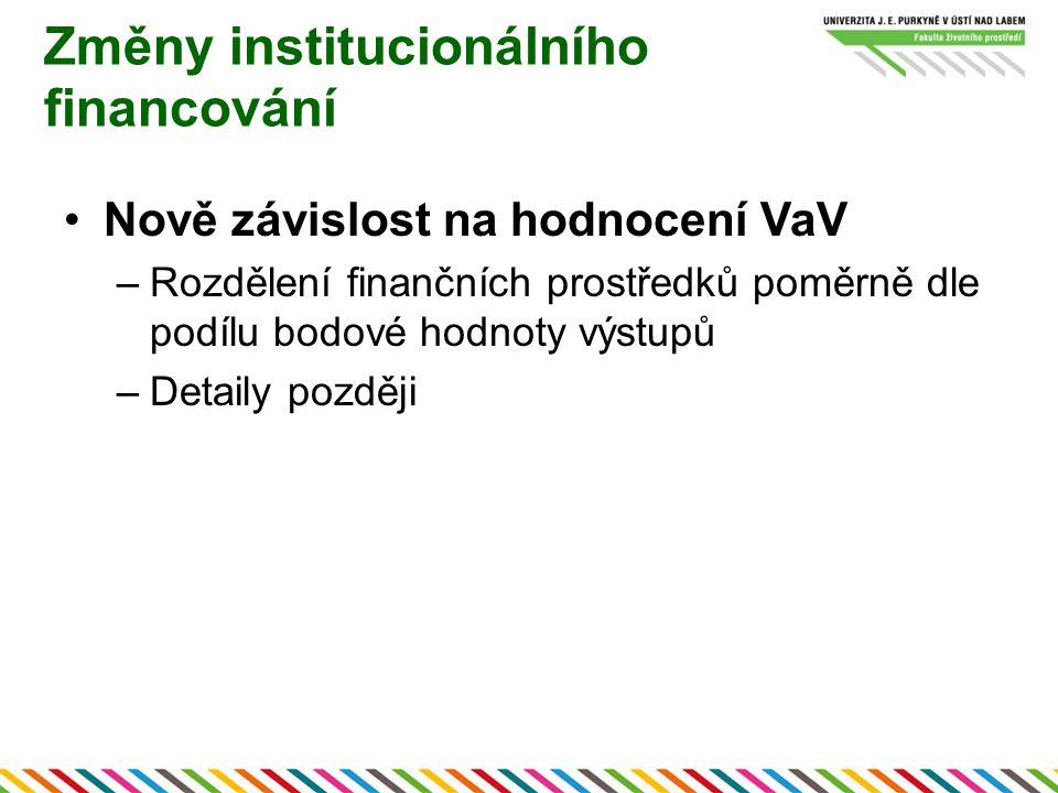 Změny institucionálního financování Nově závislost na hodnocení VaV –Rozdělení finančních prostředků poměrně dle podílu bodové hodnoty výstupů –Detaily později