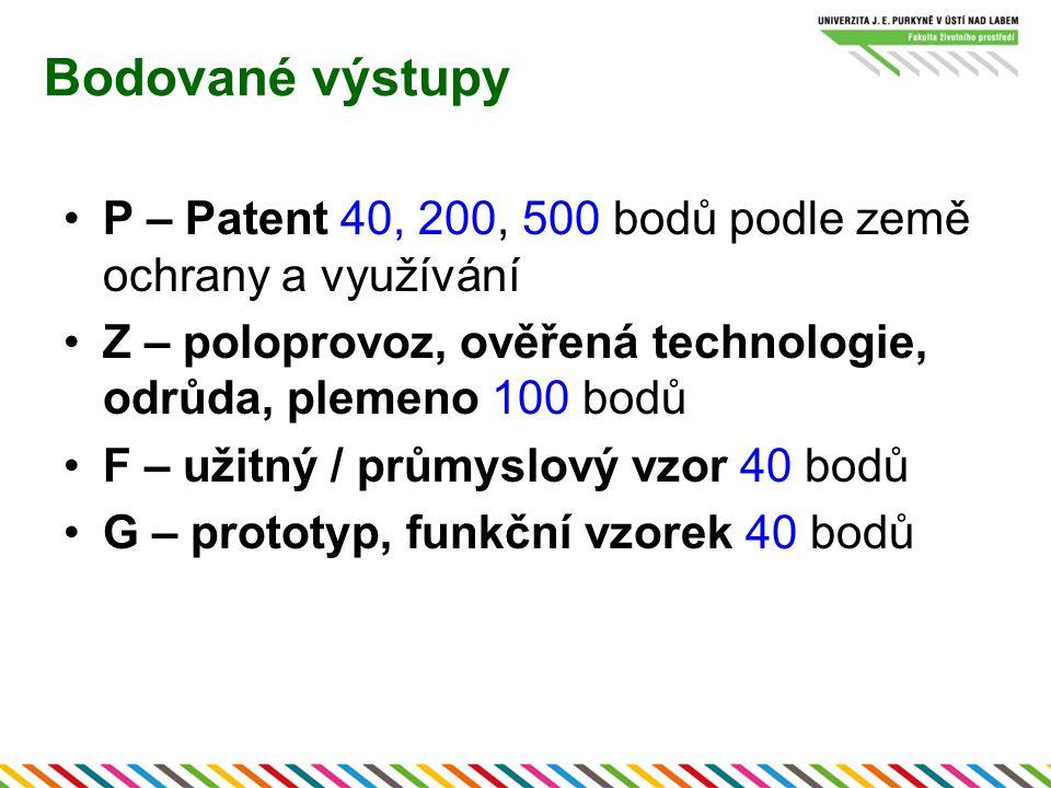 Bodované výstupy P – Patent 40, 200, 500 bodů podle země ochrany a využívání Z – poloprovoz, ověřená technologie, odrůda, plemeno 100 bodů F – užitný / průmyslový vzor 40 bodů G – prototyp, funkční vzorek 40 bodů