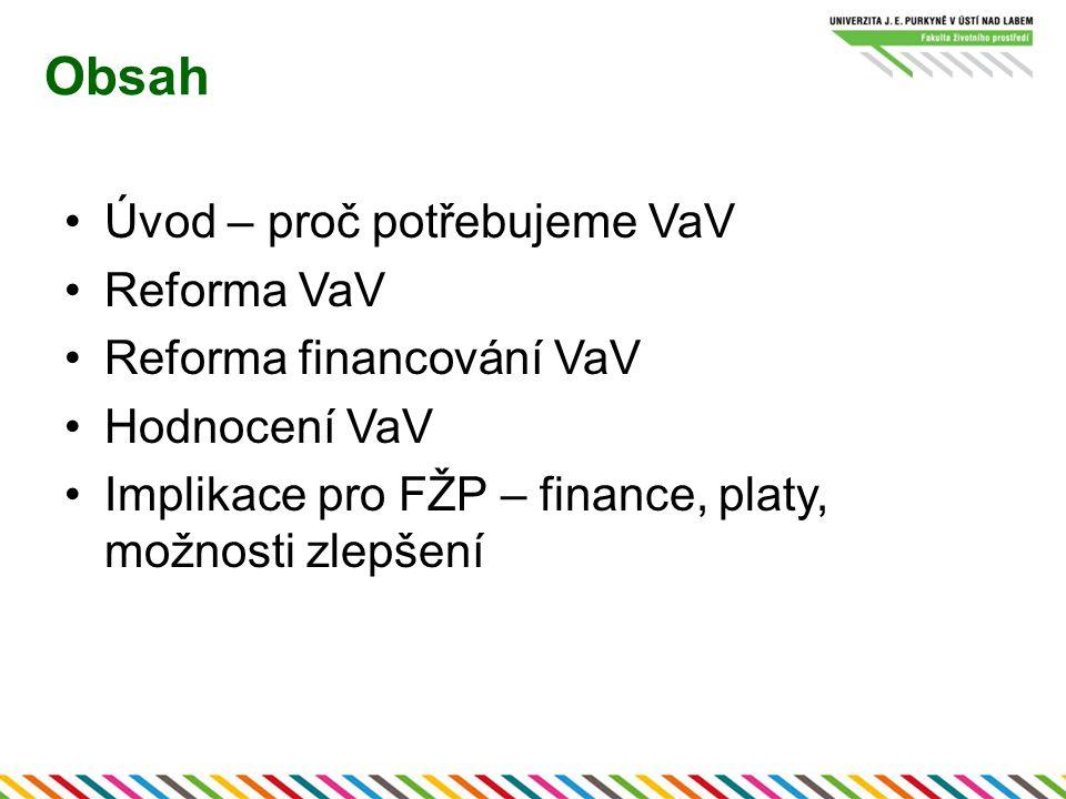 Obsah Úvod – proč potřebujeme VaV Reforma VaV Reforma financování VaV Hodnocení VaV Implikace pro FŽP – finance, platy, možnosti zlepšení