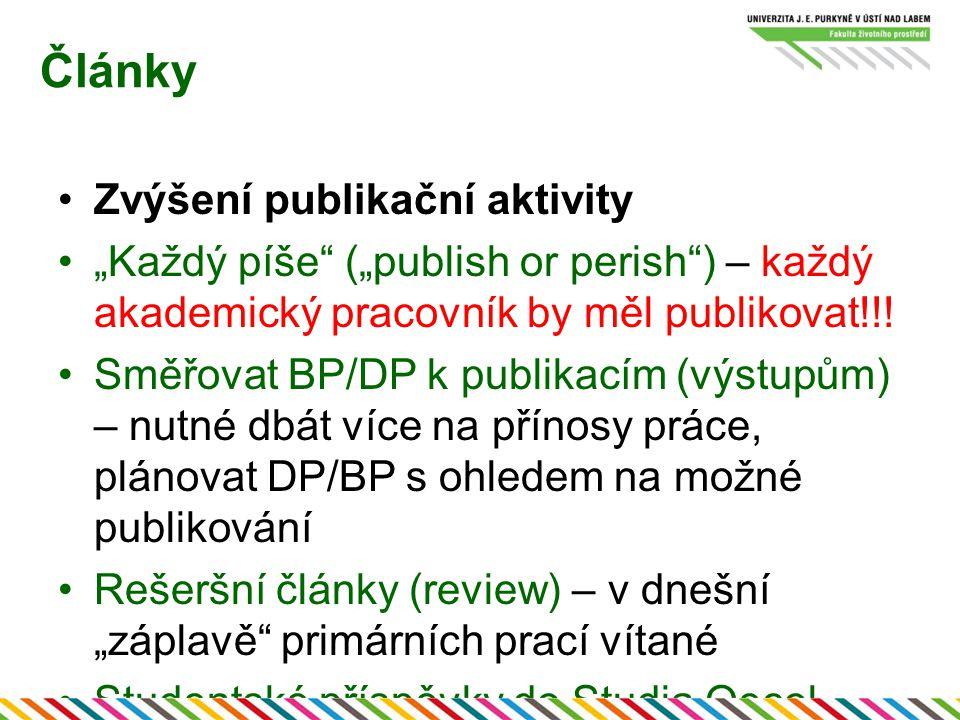 """Články Zvýšení publikační aktivity """"Každý píše (""""publish or perish ) – každý akademický pracovník by měl publikovat!!."""