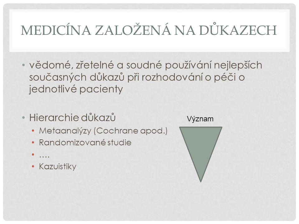 MEDICÍNA ZALOŽENÁ NA DŮKAZECH vědomé, zřetelné a soudné používání nejlepších současných důkazů při rozhodování o péči o jednotlivé pacienty Hierarchie důkazů Metaanalýzy (Cochrane apod.) Randomizované studie ….