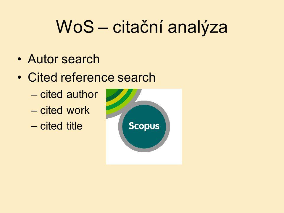 WoS – citační analýza Autor search Cited reference search –cited author –cited work –cited title