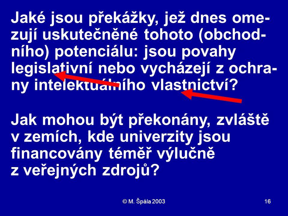 © M. Špála 200316 Jaké jsou překážky, jež dnes ome- zují uskutečněné tohoto (obchod- ního) potenciálu: jsou povahy legislativní nebo vycházejí z ochra