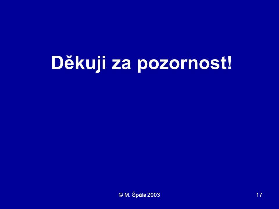 © M. Špála 200317 Děkuji za pozornost!