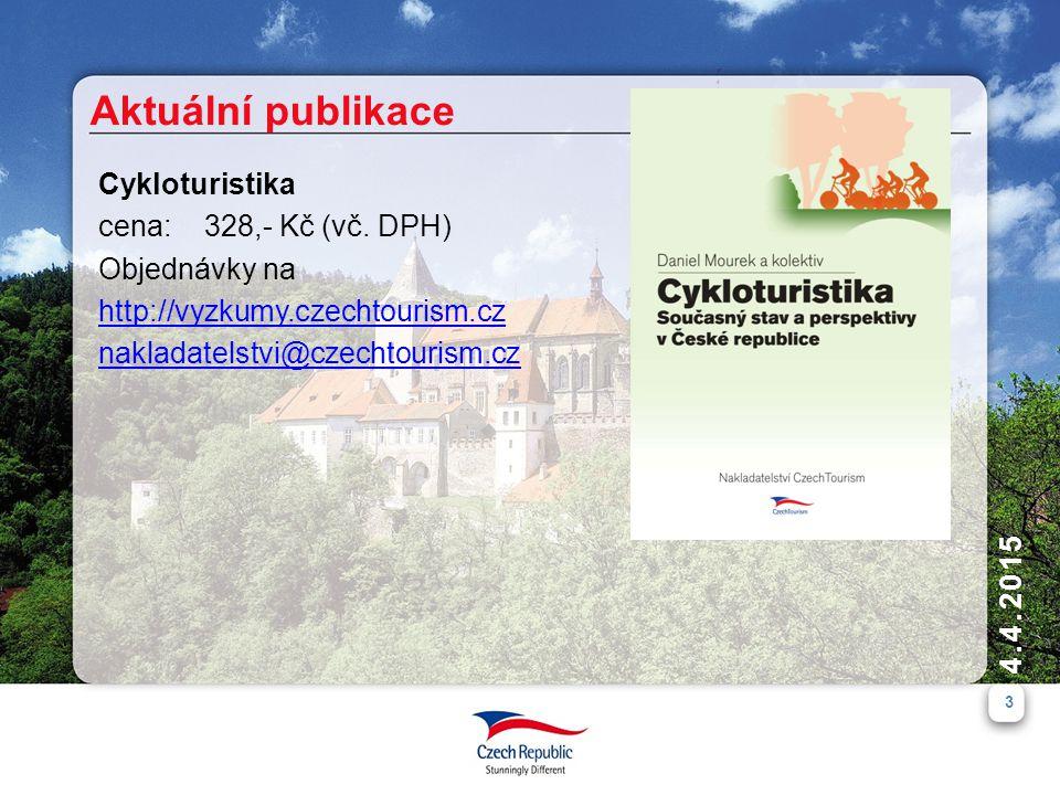 3 4.4.2015 Aktuální publikace Cykloturistika cena: 328,- Kč (vč. DPH) Objednávky na http://vyzkumy.czechtourism.cz nakladatelstvi@czechtourism.cz
