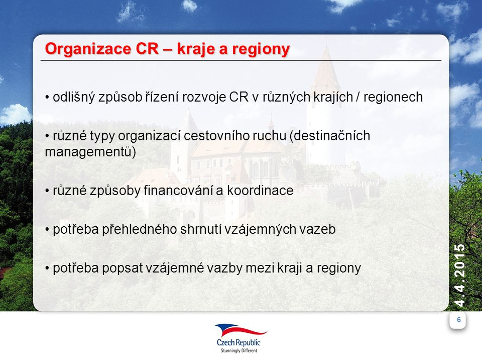 4.4.2015 6 odlišný způsob řízení rozvoje CR v různých krajích / regionech různé typy organizací cestovního ruchu (destinačních managementů) různé způsoby financování a koordinace potřeba přehledného shrnutí vzájemných vazeb potřeba popsat vzájemné vazby mezi kraji a regiony Organizace CR – kraje a regiony
