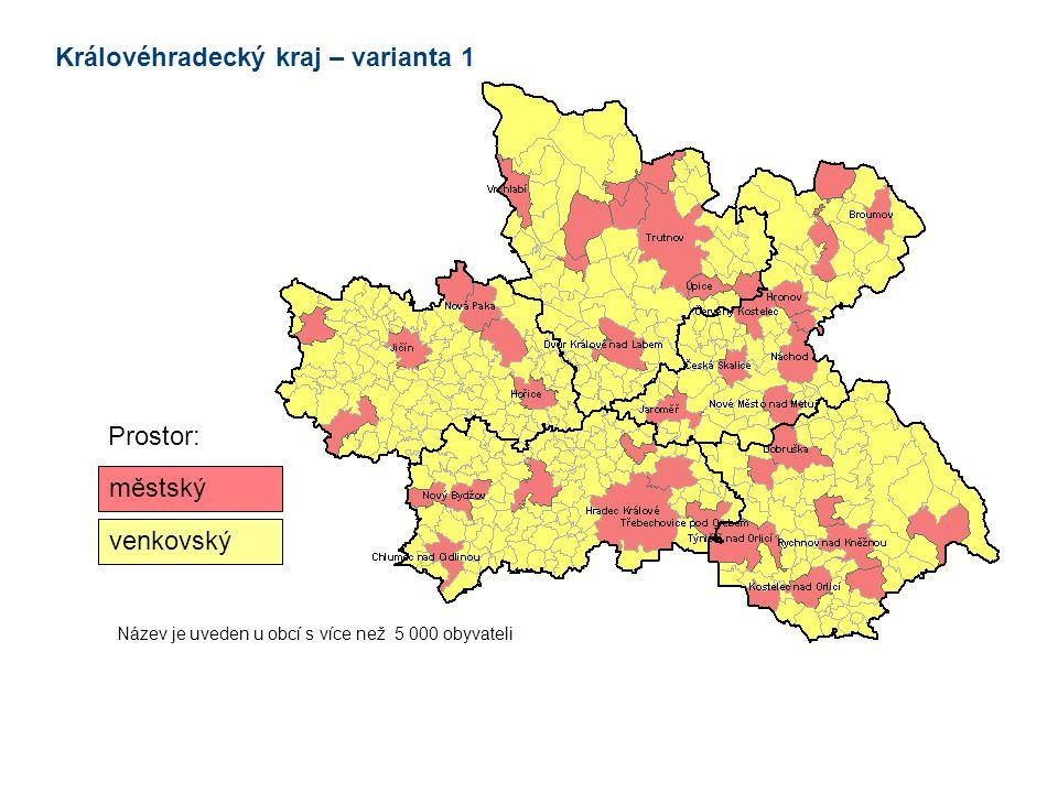 městský venkovský Prostor: Název je uveden u obcí s více než 5 000 obyvateli Královéhradecký kraj – varianta 1