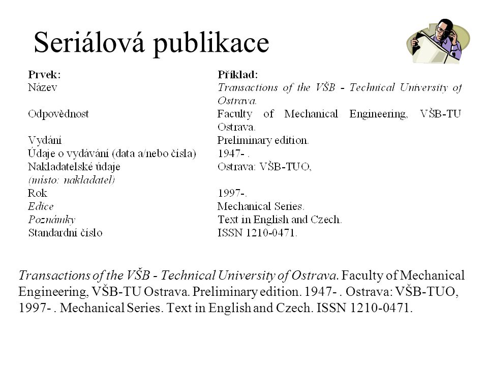 Seriálová publikace Transactions of the VŠB - Technical University of Ostrava. Faculty of Mechanical Engineering, VŠB-TU Ostrava. Preliminary edition.