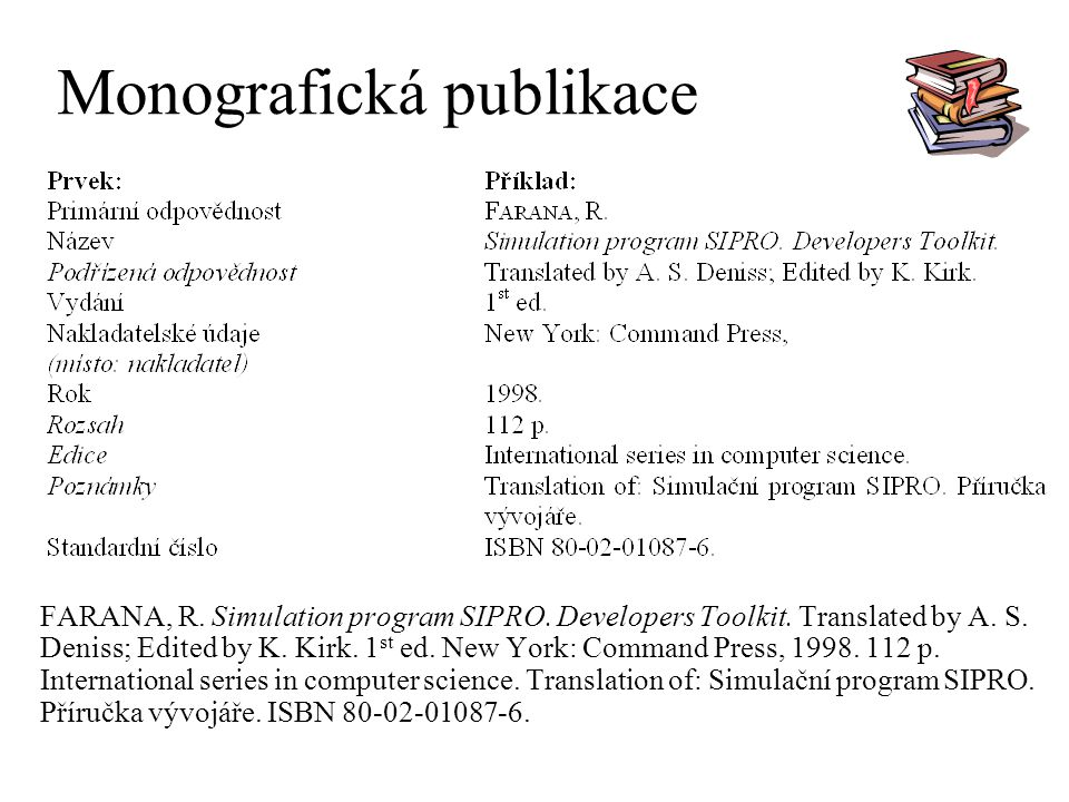 Monografická publikace FARANA, R. Simulation program SIPRO. Developers Toolkit. Translated by A. S. Deniss; Edited by K. Kirk. 1 st ed. New York: Comm