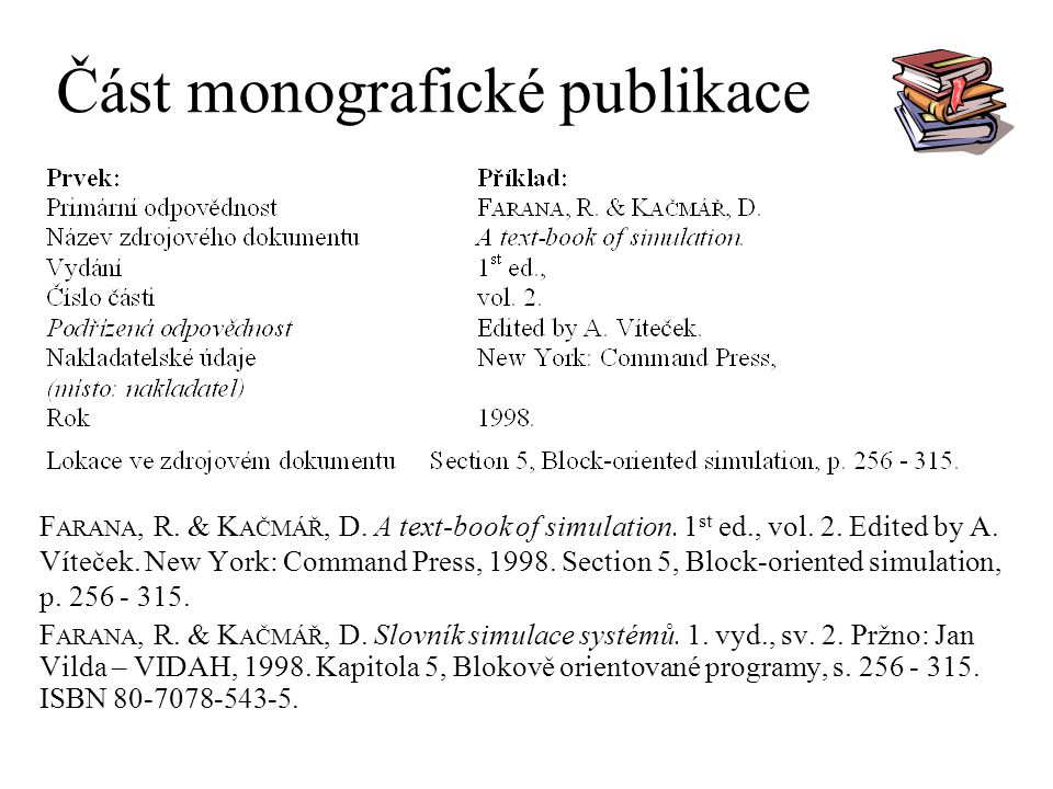 Část monografické publikace F ARANA, R. & K AČMÁŘ, D. A text-book of simulation. 1 st ed., vol. 2. Edited by A. Víteček. New York: Command Press, 1998