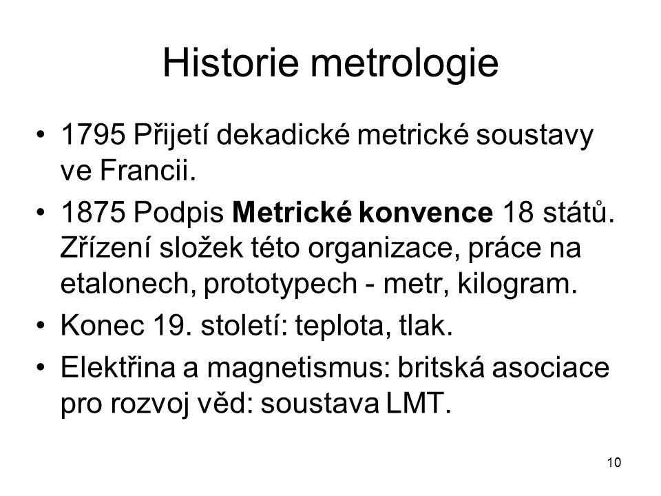 10 Historie metrologie 1795 Přijetí dekadické metrické soustavy ve Francii. 1875 Podpis Metrické konvence 18 států. Zřízení složek této organizace, pr