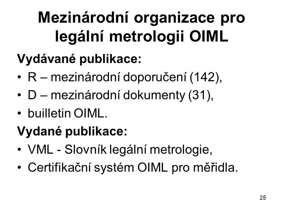 25 Mezinárodní organizace pro legální metrologii OIML Vydávané publikace: R – mezinárodní doporučení (142), D – mezinárodní dokumenty (31), builletin