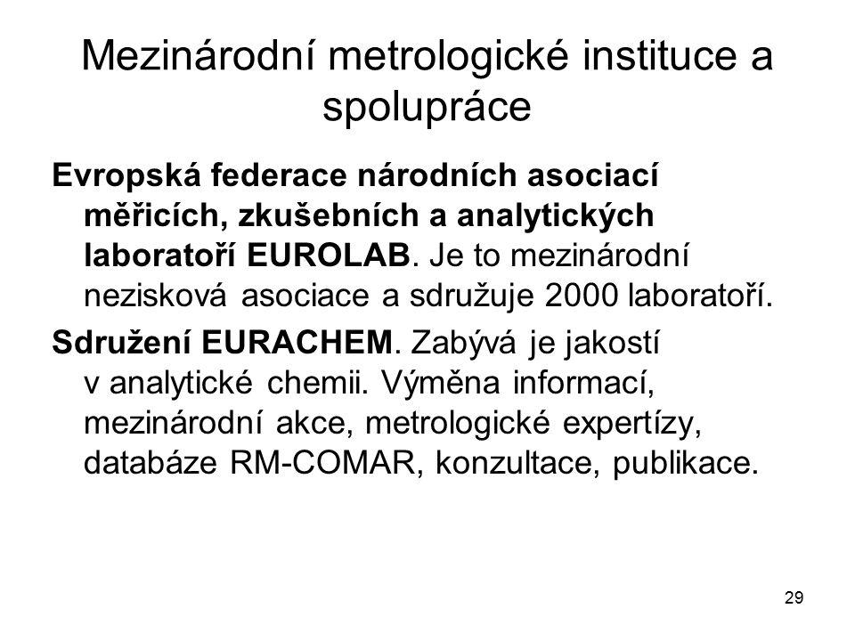 29 Mezinárodní metrologické instituce a spolupráce Evropská federace národních asociací měřicích, zkušebních a analytických laboratoří EUROLAB. Je to
