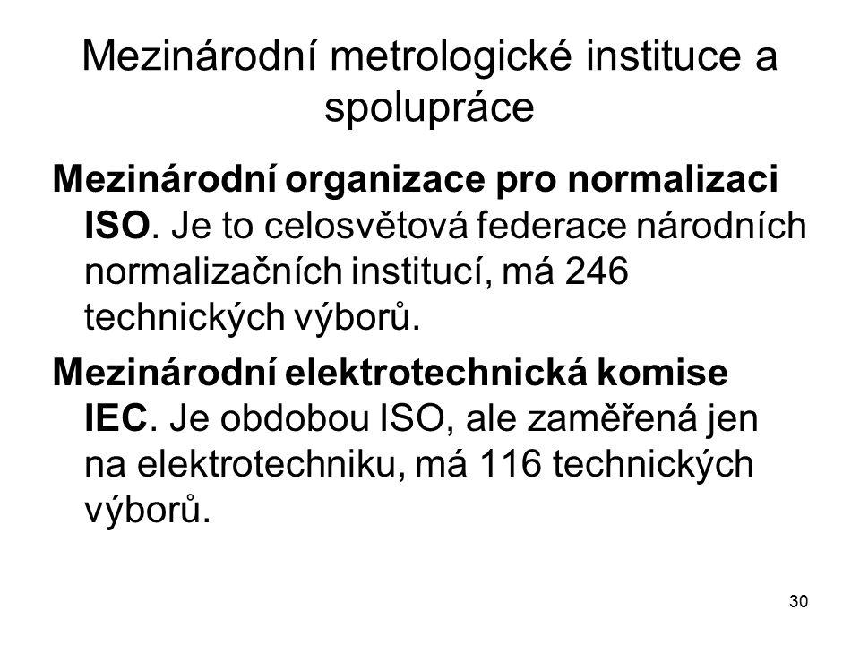 30 Mezinárodní metrologické instituce a spolupráce Mezinárodní organizace pro normalizaci ISO. Je to celosvětová federace národních normalizačních ins