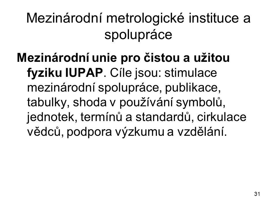 31 Mezinárodní metrologické instituce a spolupráce Mezinárodní unie pro čistou a užitou fyziku IUPAP. Cíle jsou: stimulace mezinárodní spolupráce, pub