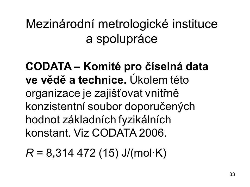 33 Mezinárodní metrologické instituce a spolupráce CODATA – Komité pro číselná data ve vědě a technice. Úkolem této organizace je zajišťovat vnitřně k