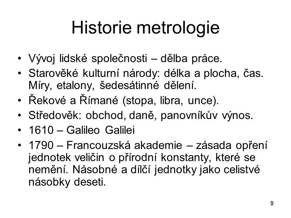 9 Historie metrologie Vývoj lidské společnosti – dělba práce. Starověké kulturní národy: délka a plocha, čas. Míry, etalony, šedesátinné dělení. Řekov