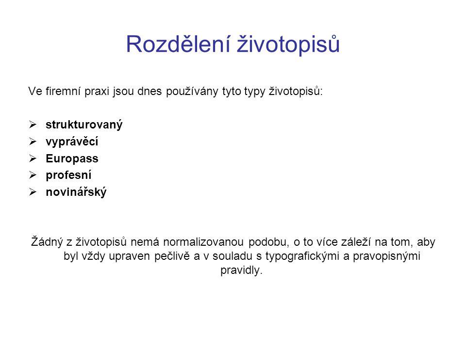 Rozdělení životopisů Ve firemní praxi jsou dnes používány tyto typy životopisů:  strukturovaný  vyprávěcí  Europass  profesní  novinářský Žádný z
