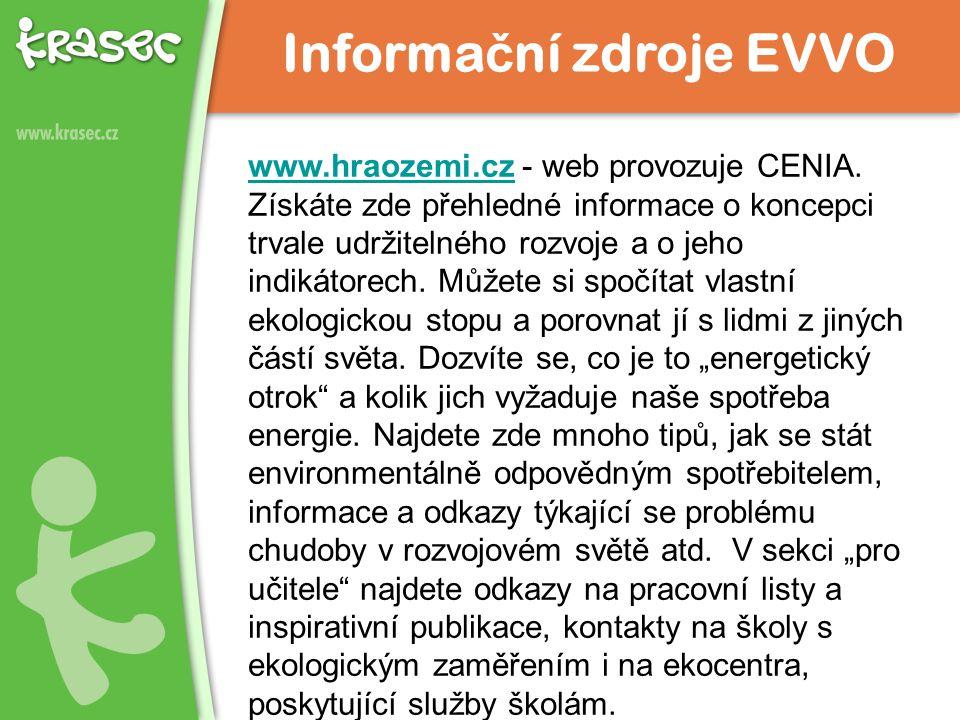 www.hraozemi.czwww.hraozemi.cz - web provozuje CENIA. Získáte zde přehledné informace o koncepci trvale udržitelného rozvoje a o jeho indikátorech. Mů