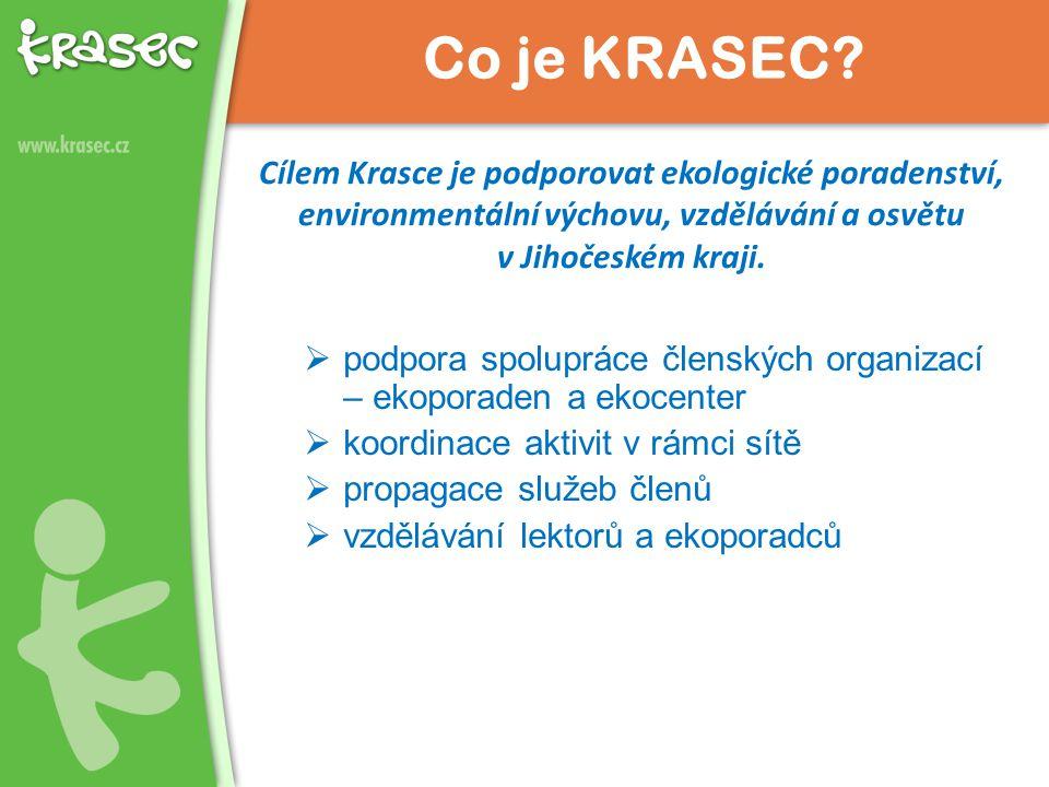 Cílem Krasce je podporovat ekologické poradenství, environmentální výchovu, vzdělávání a osvětu v Jihočeském kraji.