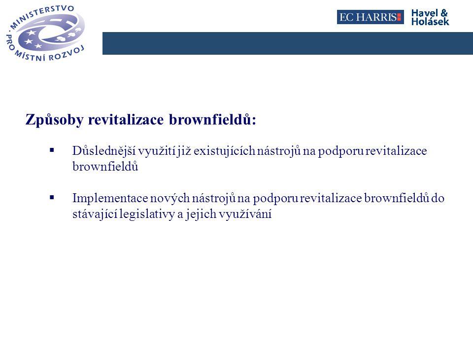Click to edit Master title style Hlavní oblasti nové úpravy 1)Identifikace brownfieldů; 2)Výkon státní správy na úseku brownfieldů; 3)Třídění brownfieldů dle různých kritérií; 4)Vznik a správa databáze brownfieldů; 5)Nástroje podporující revitalizaci brownfieldů