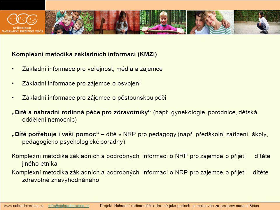"""www.nahradnirodina.cz info@nahradnirodina.cz Projekt Náhradní rodina+dítě+odborník jako partneři je realizován za podpory nadace Siriusinfo@nahradnirodina.cz Komplexní metodika základních informací (KMZI) Základní informace pro veřejnost, média a zájemce Základní informace pro zájemce o osvojení Základní informace pro zájemce o pěstounskou péči """"Dítě a náhradní rodinná péče pro zdravotníky (např."""