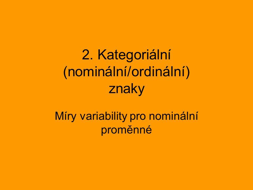 2. Kategoriální (nominální/ordinální) znaky Míry variability pro nominální proměnné