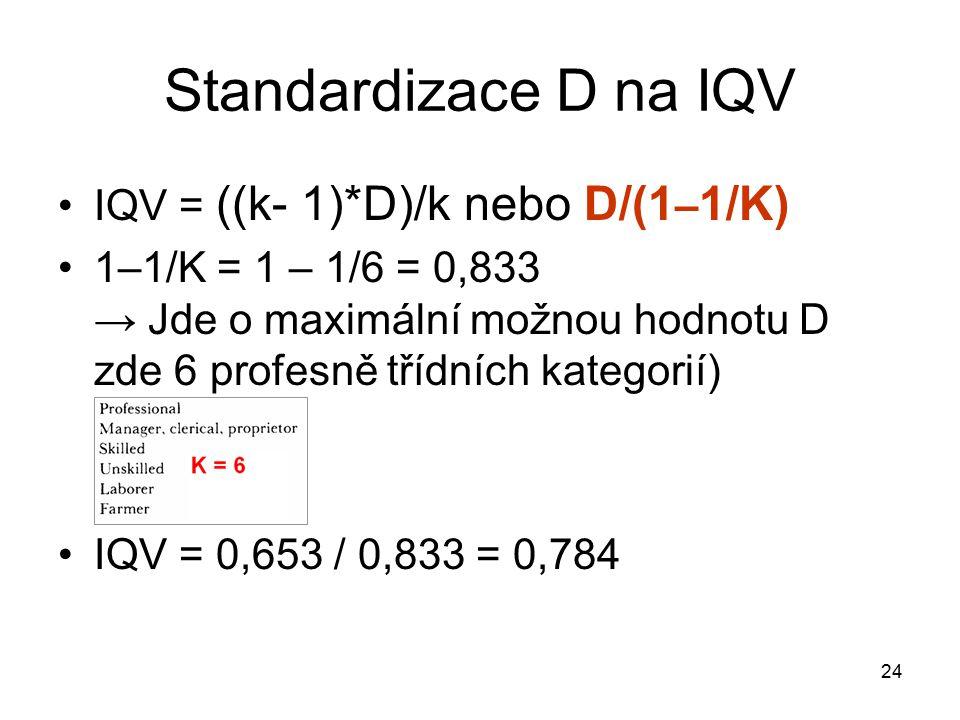 24 Standardizace D na IQV IQV = ((k- 1)*D)/k nebo D/(1 – 1/K) 1–1/K = 1 – 1/6 = 0,833 → Jde o maximální možnou hodnotu D zde 6 profesně třídních kategorií) IQV = 0,653 / 0,833 = 0,784