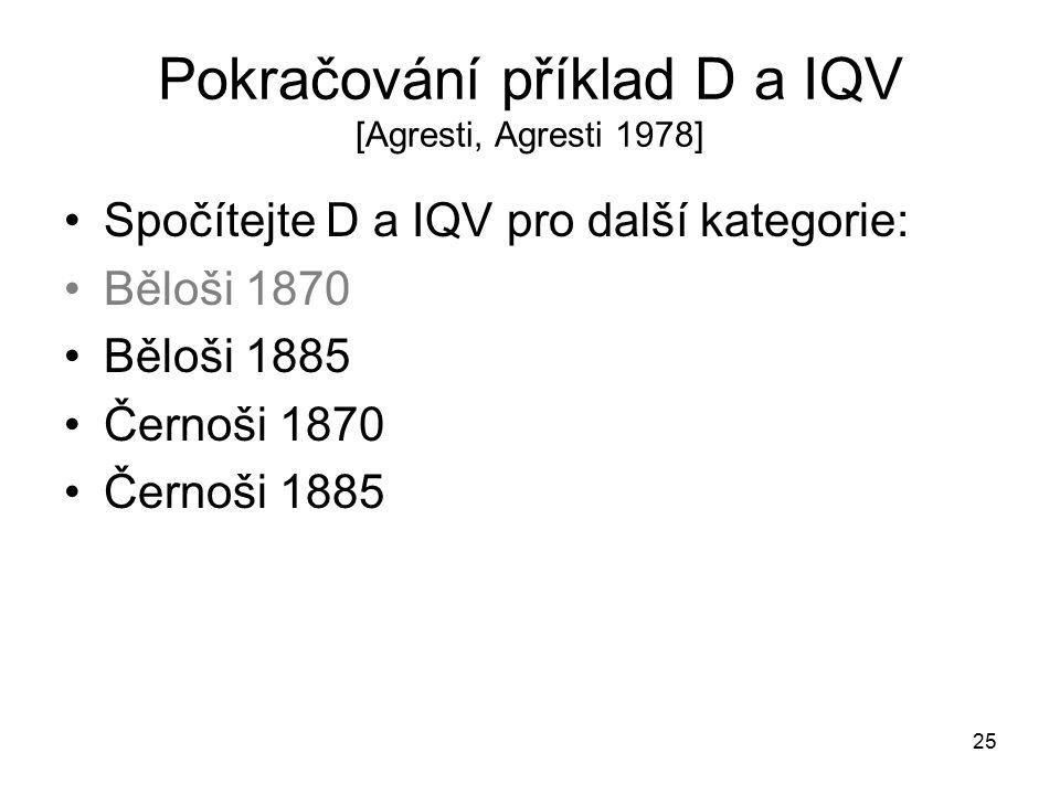 25 Spočítejte D a IQV pro další kategorie: Běloši 1870 Běloši 1885 Černoši 1870 Černoši 1885 Pokračování příklad D a IQV [Agresti, Agresti 1978]