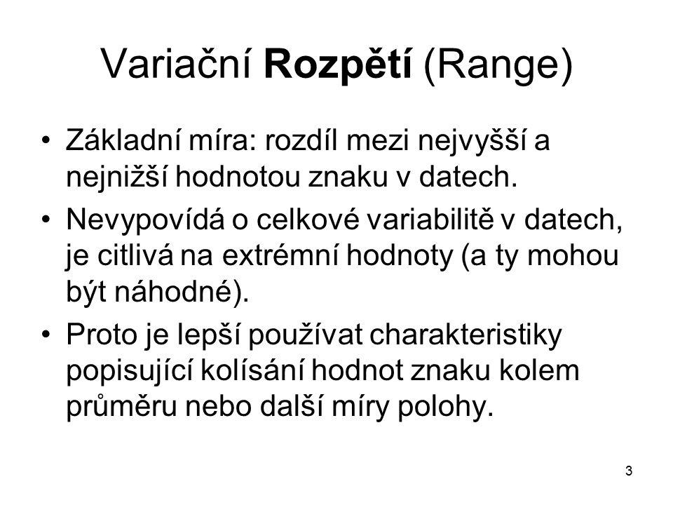 3 Variační Rozpětí (Range) Základní míra: rozdíl mezi nejvyšší a nejnižší hodnotou znaku v datech.