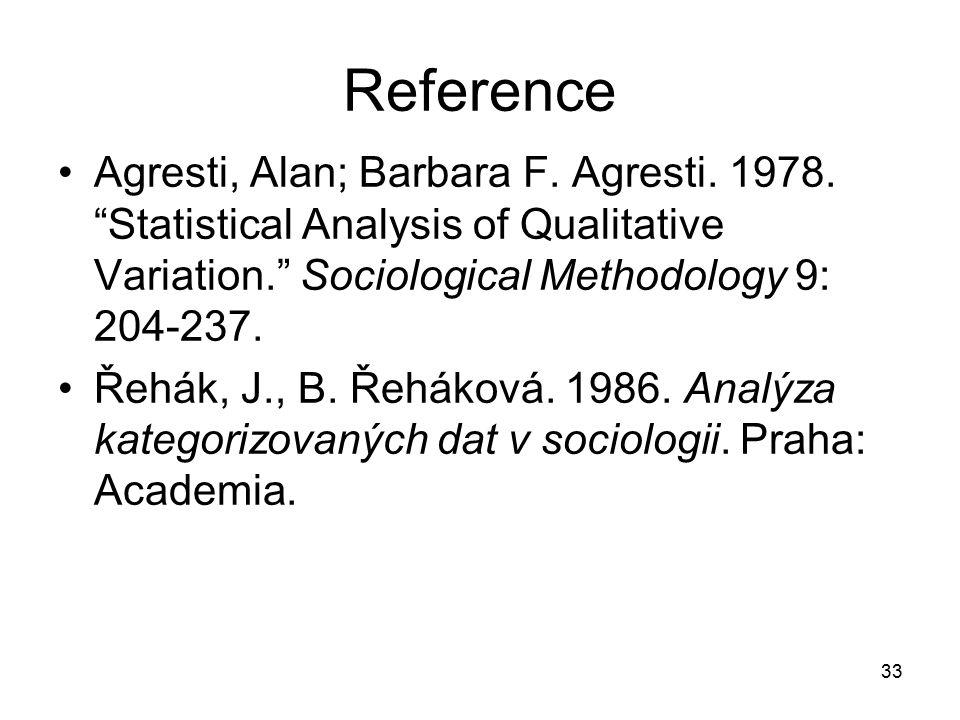 33 Reference Agresti, Alan; Barbara F.Agresti. 1978.