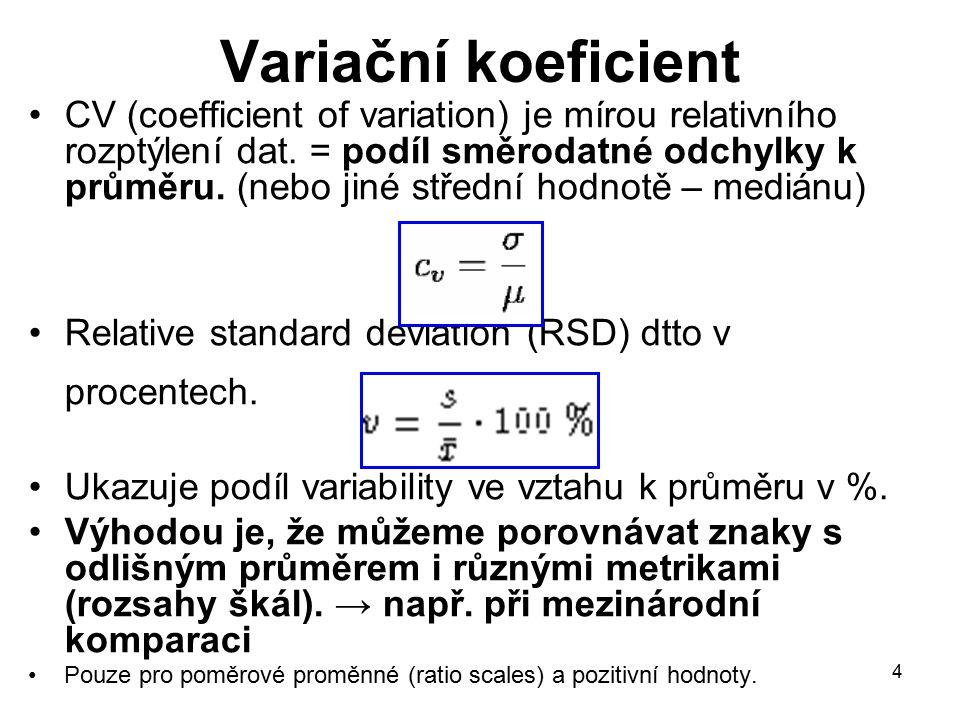 15 Míry variability pro kategoriální proměnné poněkud složitější situace (než u kardinálních znaků) Nominální proměnné: Variační poměr – v Nominální rozptyl – D (nomvar) (Giniho koeficient) → relativní počet všech dvojic, které nejsou ve stejné kategorii Normalizovaný nominální rozptyl (norm.