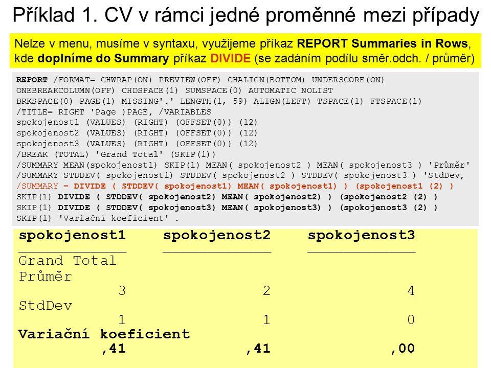 27 Míry variability nominální/ordinální proměnné v SPSS SPSS neobsahuje, ale existuje skript, který lze aplikovat na tabulku třídění 1.stupně (FREQUENCIES) Míry variability pro kategorizované proměnné http://acrea.cz/cz/skripty/mira-variability K dispozici jsou tyto míry: variační poměr, nominální variance, normovaná nominální variance, ordinální variance a normovaná ordinální variance.