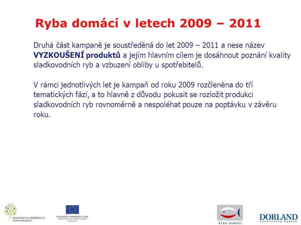 Ryba domácí v letech 2009 – 2011 Druhá část kampaně je soustředěná do let 2009 – 2011 a nese název VYZKOUŠENÍ produktů a jejím hlavním cílem je dosáhn
