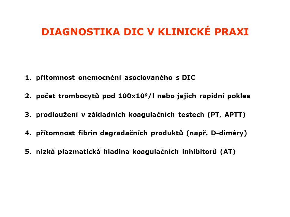 DIAGNOSTIKA DIC V KLINICKÉ PRAXI 1. přítomnost onemocnění asociovaného s DIC 2. počet trombocytů pod 100x10 9 /l nebo jejich rapidní pokles 3. prodlou