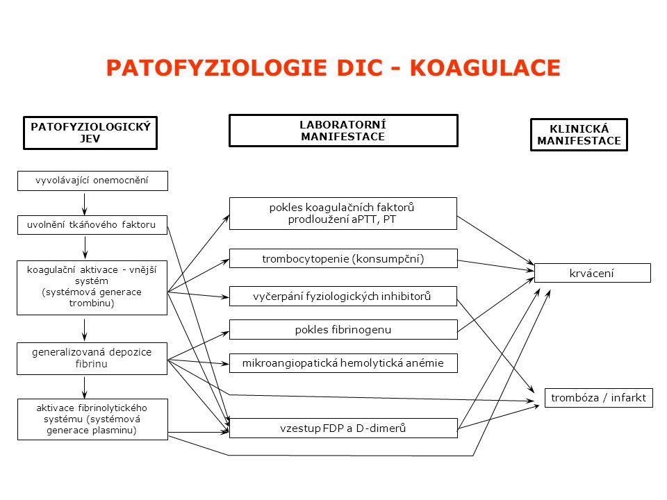 uvolnění tkáňového faktoru koagulační aktivace - vnější systém (systémová generace trombinu) generalizovaná depozice fibrinu vyvolávající onemocnění a