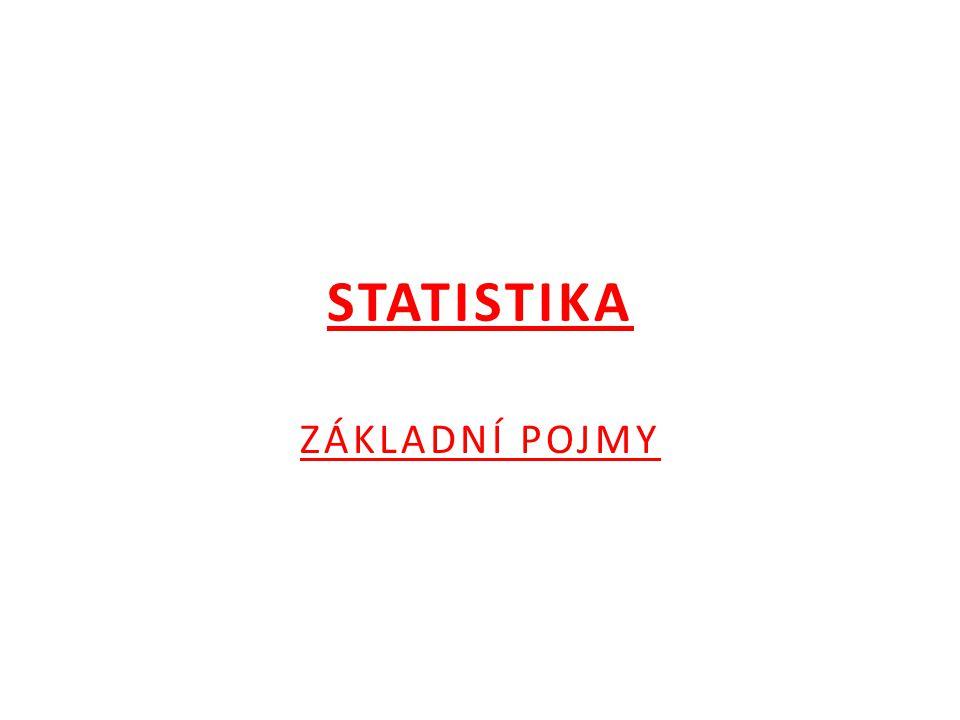 STATISTIKA  je věda o metodách sběru, zpracování a vyhodnocování statistických údajů vždy na dostatečně rozsáhlém souboru údajů  matematické statistika – - matematické zpracování a rozbor shromážděných statistických údajů - základem je práce se statistickým souborem
