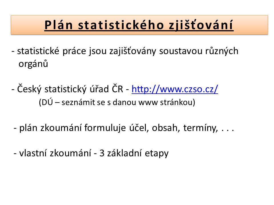 1) Statistické zjišťování – shromažďování údajů včetně prověřování správnosti údajů 2) Statistické zpracování – třídění získaných údajů podle zvolených hledisek - publikace informací 3) Statistický rozbor – vyvozuje z dosažených výsledků závěry a navrhuje vhodná opatření