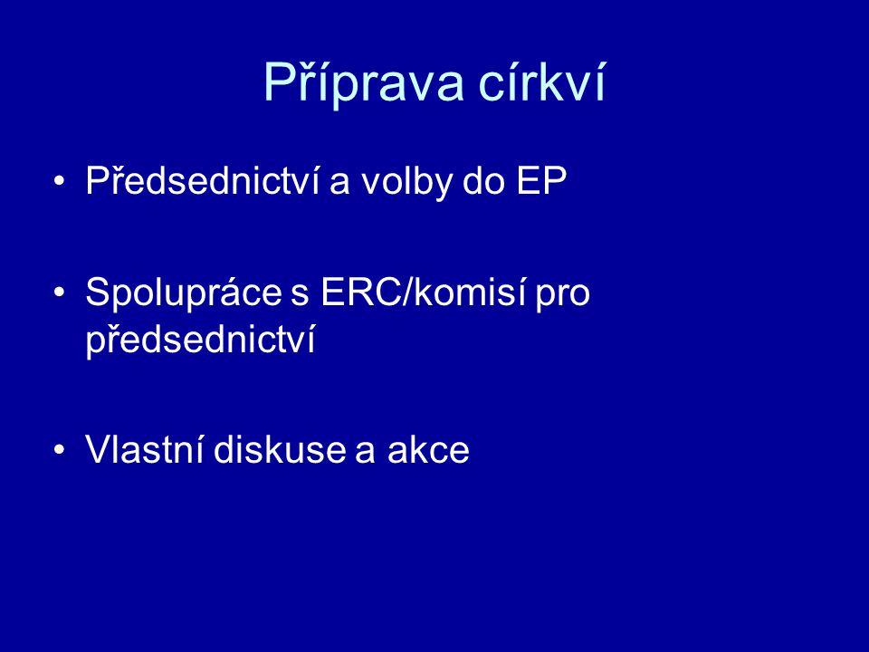 Příprava církví Předsednictví a volby do EP Spolupráce s ERC/komisí pro předsednictví Vlastní diskuse a akce