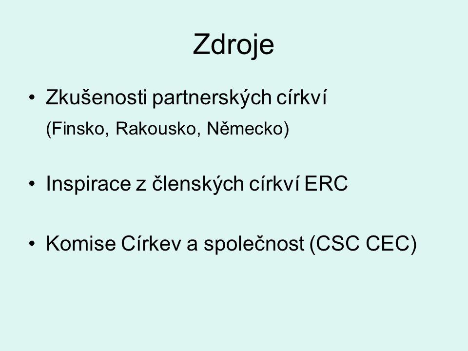 Zdroje Zkušenosti partnerských církví (Finsko, Rakousko, Německo) Inspirace z členských církví ERC Komise Církev a společnost (CSC CEC)
