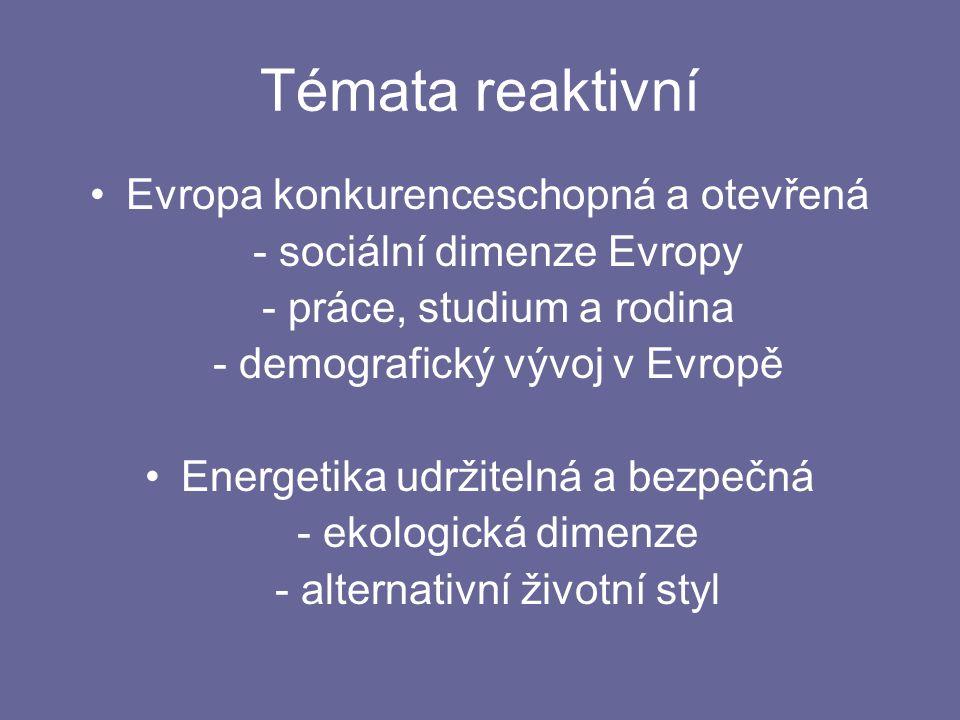 Témata reaktivní Evropa konkurenceschopná a otevřená - sociální dimenze Evropy - práce, studium a rodina - demografický vývoj v Evropě Energetika udržitelná a bezpečná - ekologická dimenze - alternativní životní styl